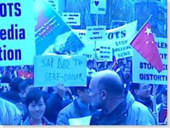 Pro-China protestors in Seattle at Dalai Lama Convocation